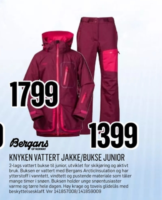 BERGANS OF NORWAY Knyken Vattert Jakke Junior G Sport | G MAX